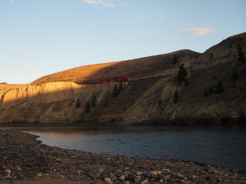 Trains at Juniper beach along the Thompson River B.C