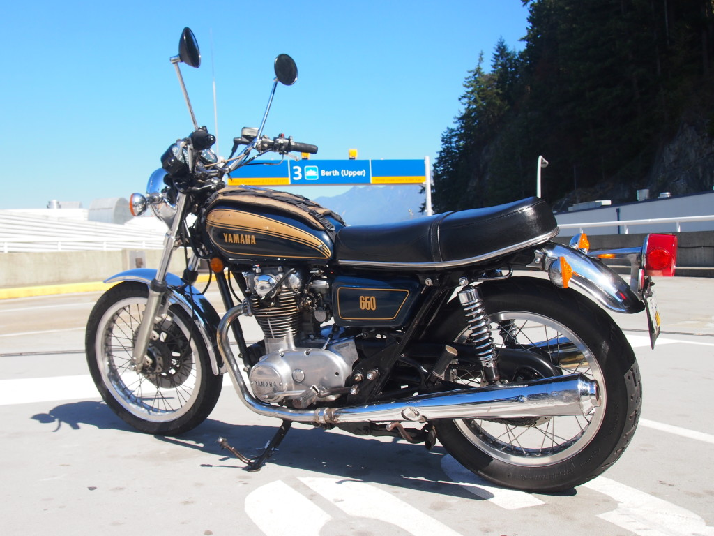 Super clean Yamaha XS650 in the ferry line up.
