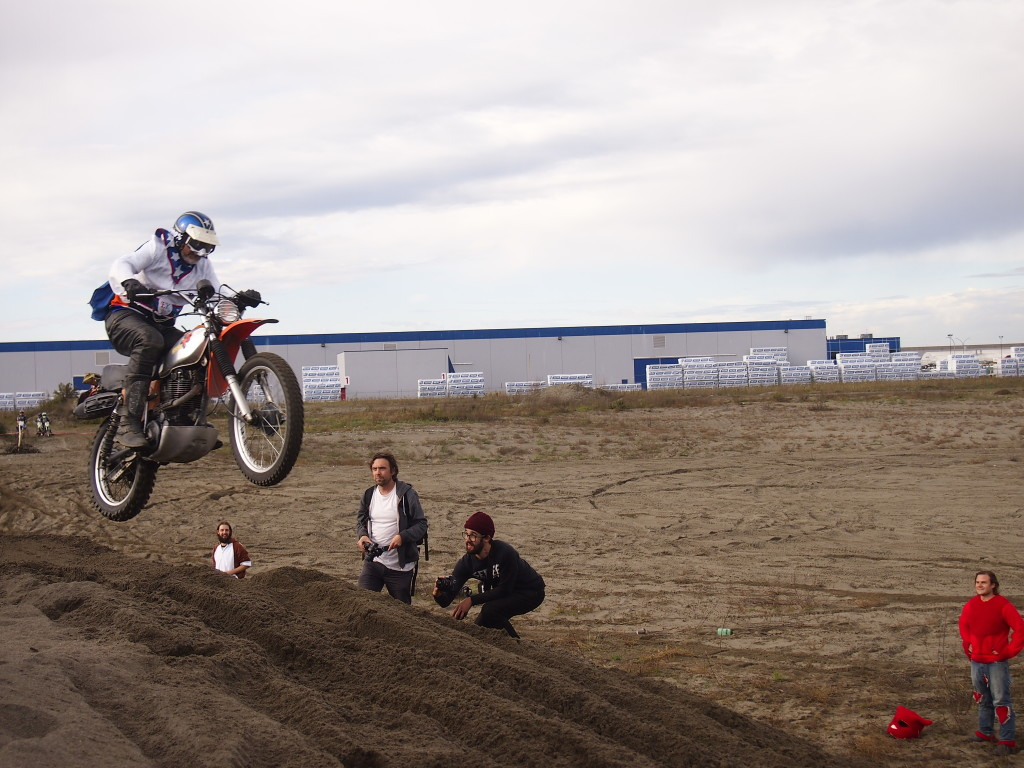 """Evel Knievel"" hitting the jump at the High Noon Scramble 2015"