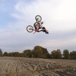 Impressive jump off a ramp