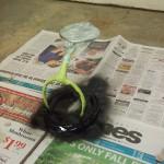 Painting the horse shoe wine bottle holder