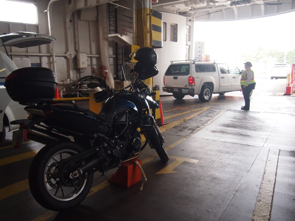 The only motorcycle on the ferry to Mayne Island