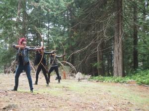 Archery target practice on Mayne Island