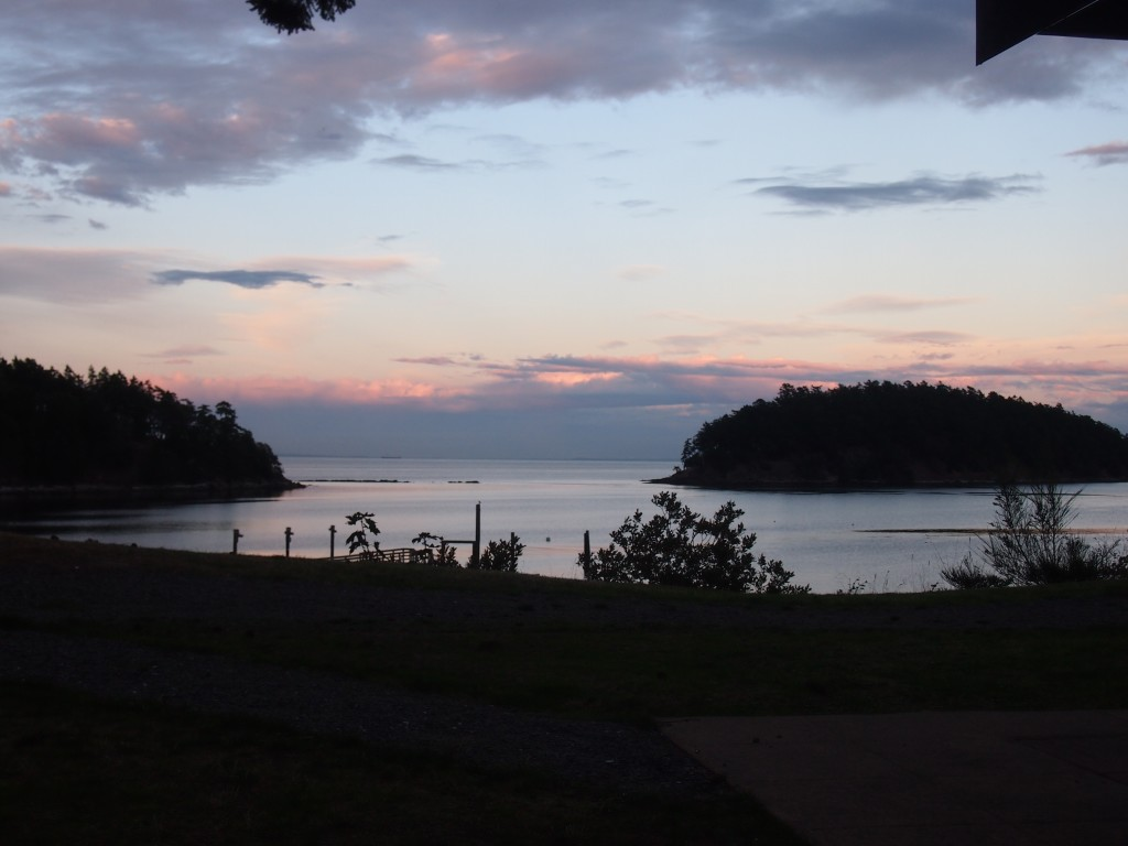View of the sunset from the cabin on Mayne Island BC