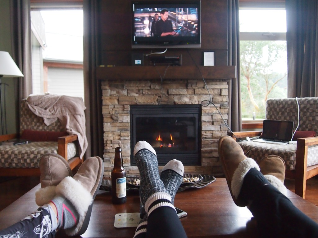 Watching movies in the cabin on Mayne Island