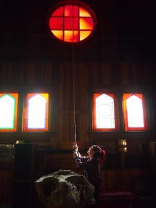 Ringing the bell at St. Mary Magdalene Church, Mayne Island BC