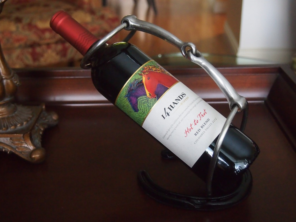 Horse shoe, horse bit wine bottle holder