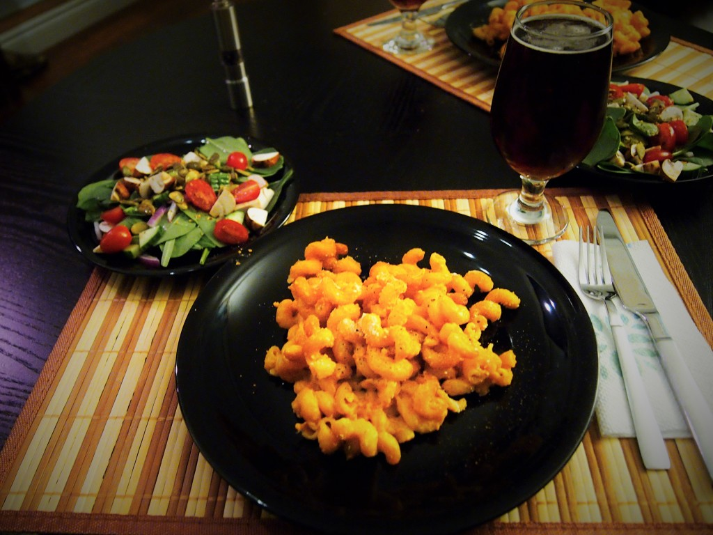 Cheese free mac 'n' cheese with a salad