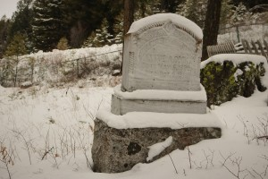 A head stone in the old cemetery in the ghost town of Phoenix BC