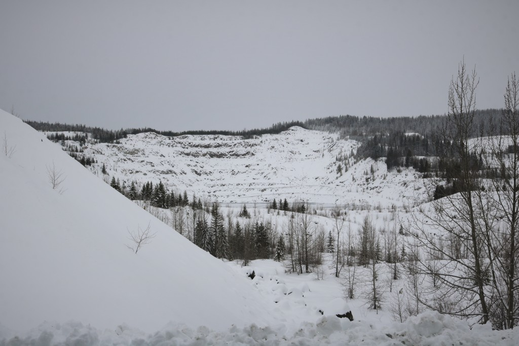 Old mine shelves in Phoenix BC covered in snow