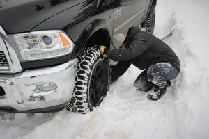 Digging the Dodge out of the snow by hand