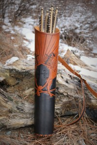 Center view of custom handmade leather tooled quiver