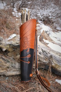 Side view of custom handmade leather tooled quiver