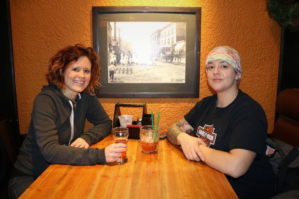 Enjoying drinks at the Greenwood Saloon in Greenwood BC