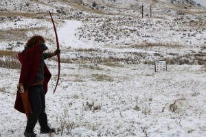 Archery target practice in the snow