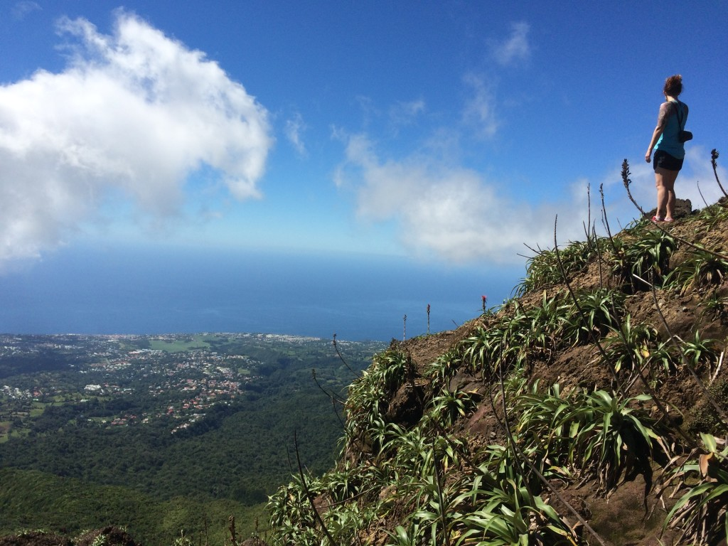 The view from the top of the volcano La Soufriere in Guadeloupe