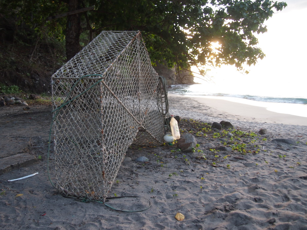 Crab trap on the beach in Guadeloupe