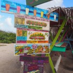 Food menu at a beach restaurant in Guadeloupe