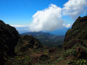 The view from the volcano La Soufriere in Guadeloupe
