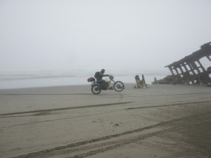 Having fun on an Oregon beach on an XT500