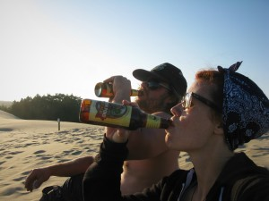 Beers on the Oregon Coast in the sand dunes