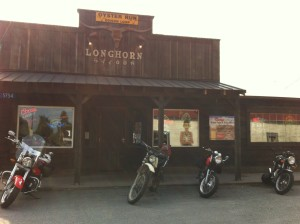 Lunch at the Longhorn Saloon in Edison on motorcycles