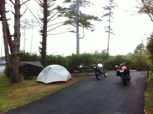 Motorcycle camping at Cape Lookout on the Oregon Coast