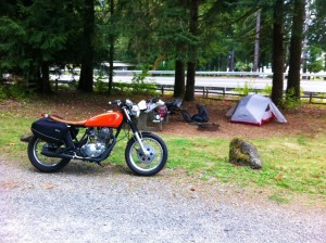 Campsite for the XT500 and SR500 Yamahas