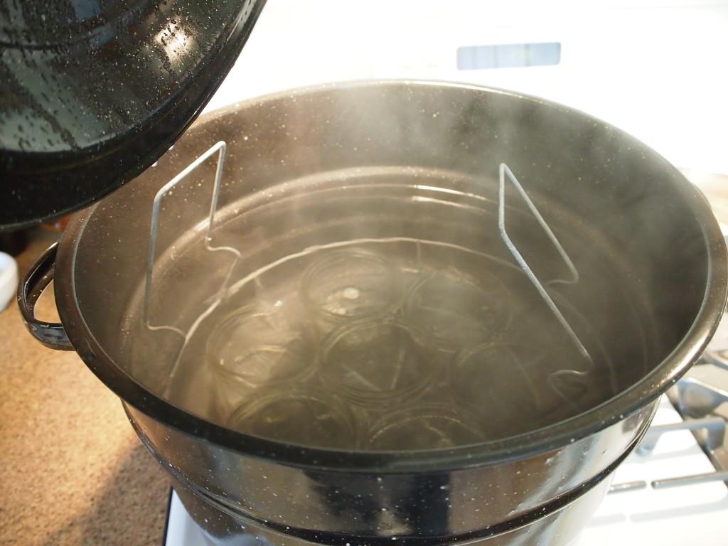 Sterilizing jars to make dandelion jelly