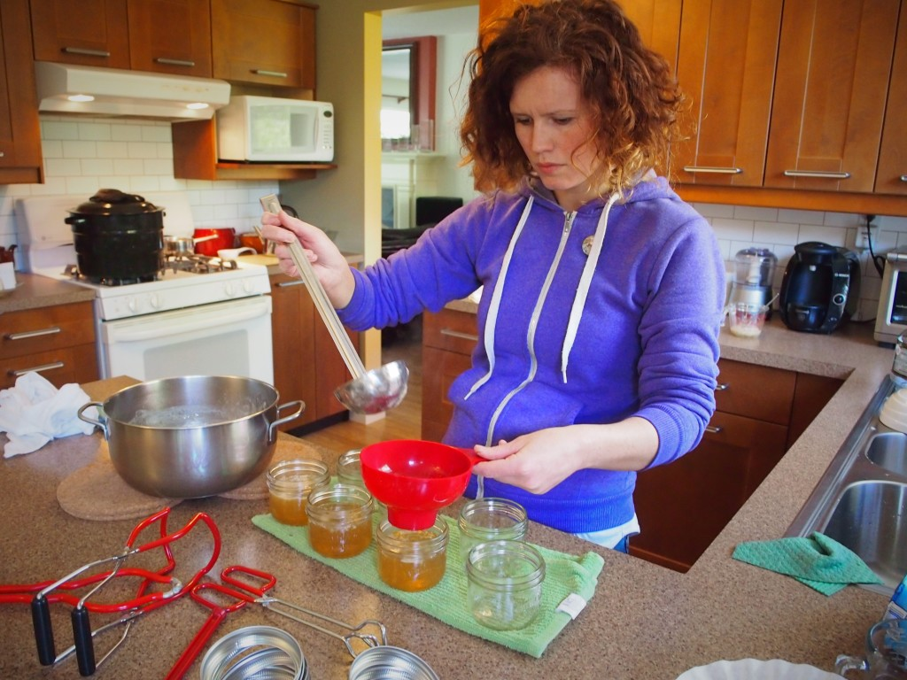 Pouring the dandelion jelly into jars