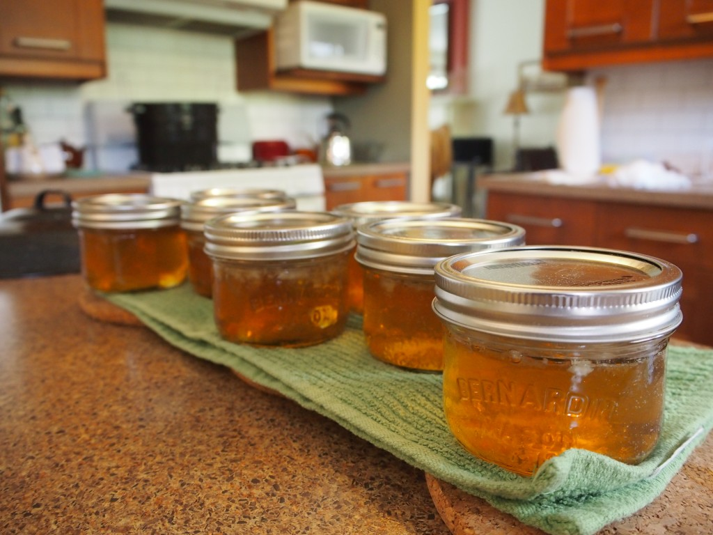 Canned dandelion jelly