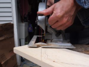 Cutting the wood for the roof mount