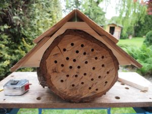 The roof mailed down to the mason bee house
