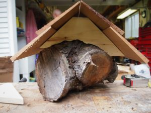 Back view of the mason bee house