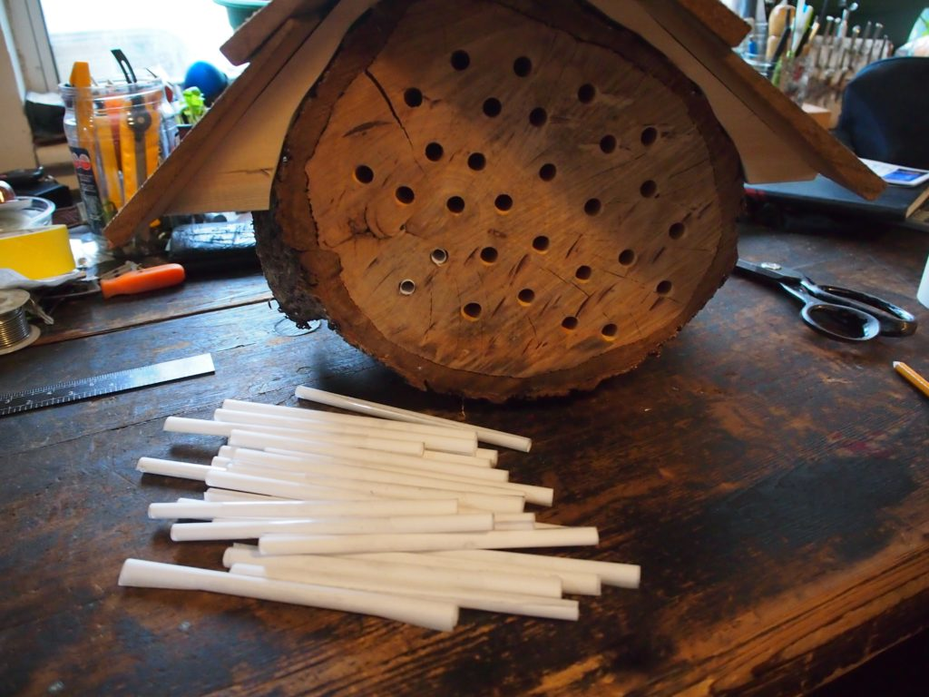 Putting the tubes in the mason bee house