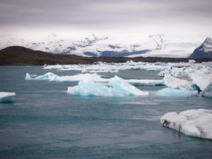 Icebergs from Vatnajokull glacrier in Jokulsarlon lagoon in Iceland on my road trip