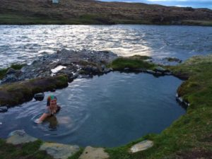 Natural hot spring in Skagafjordur on my road trip in Iceland