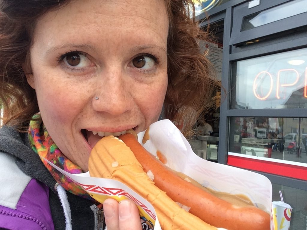 Eating a hot dog in Reykjavik, Iceland
