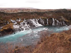 Hraunfossar falls in Iceland on my road trip