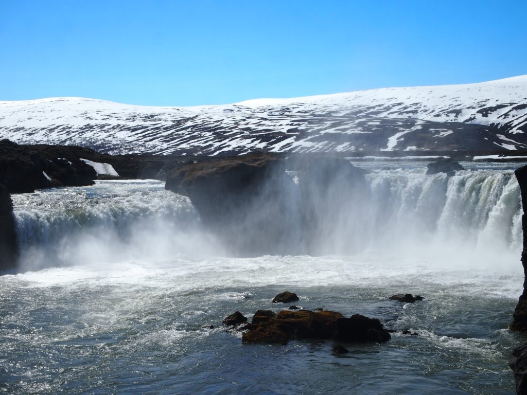 The waterfall Godafoss in North Iceland