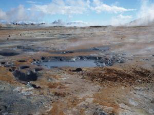 Steaming mud pools at Hverir in North Iceland