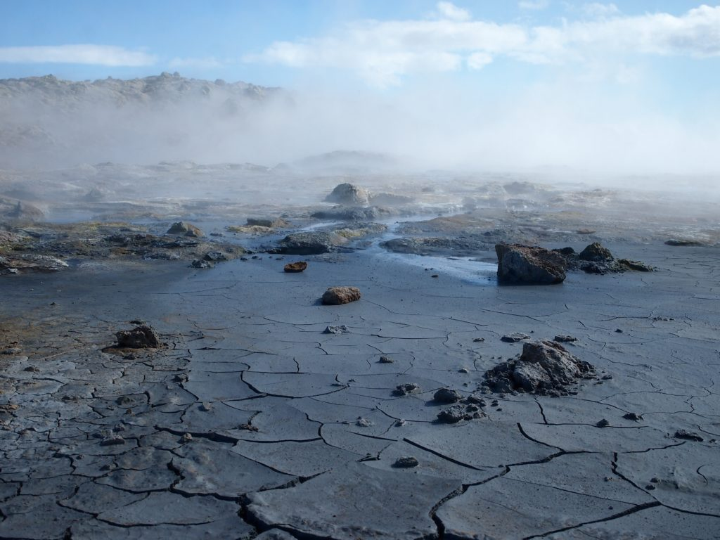 Steaming mud pools and fumaroles at Hverir in north Iceland