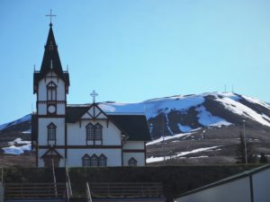 A church in Husavik in North Iceland