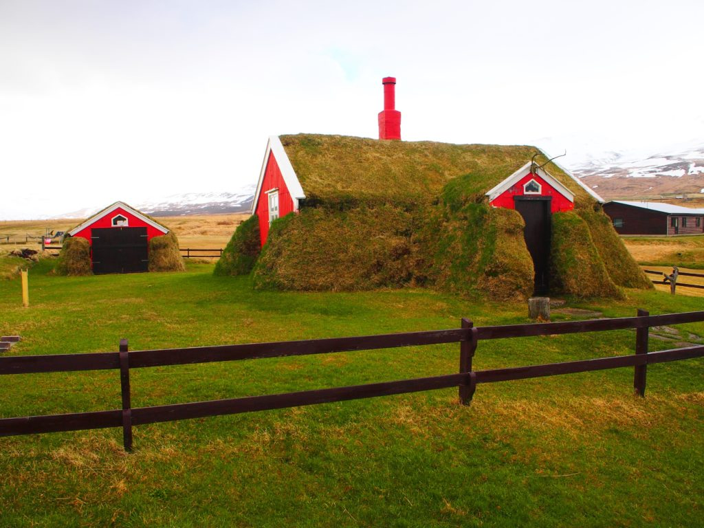 Turf house in Borgarflordur, north Iceland on my road trip