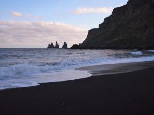 Black sand beach in Vik, south Iceland on my road trip