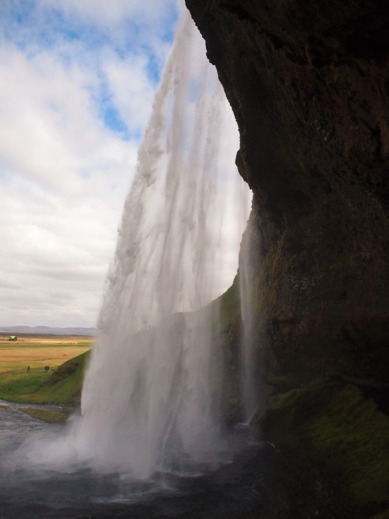 Behind the waterfall Seljalandsfoss in south Iceland on my road trip