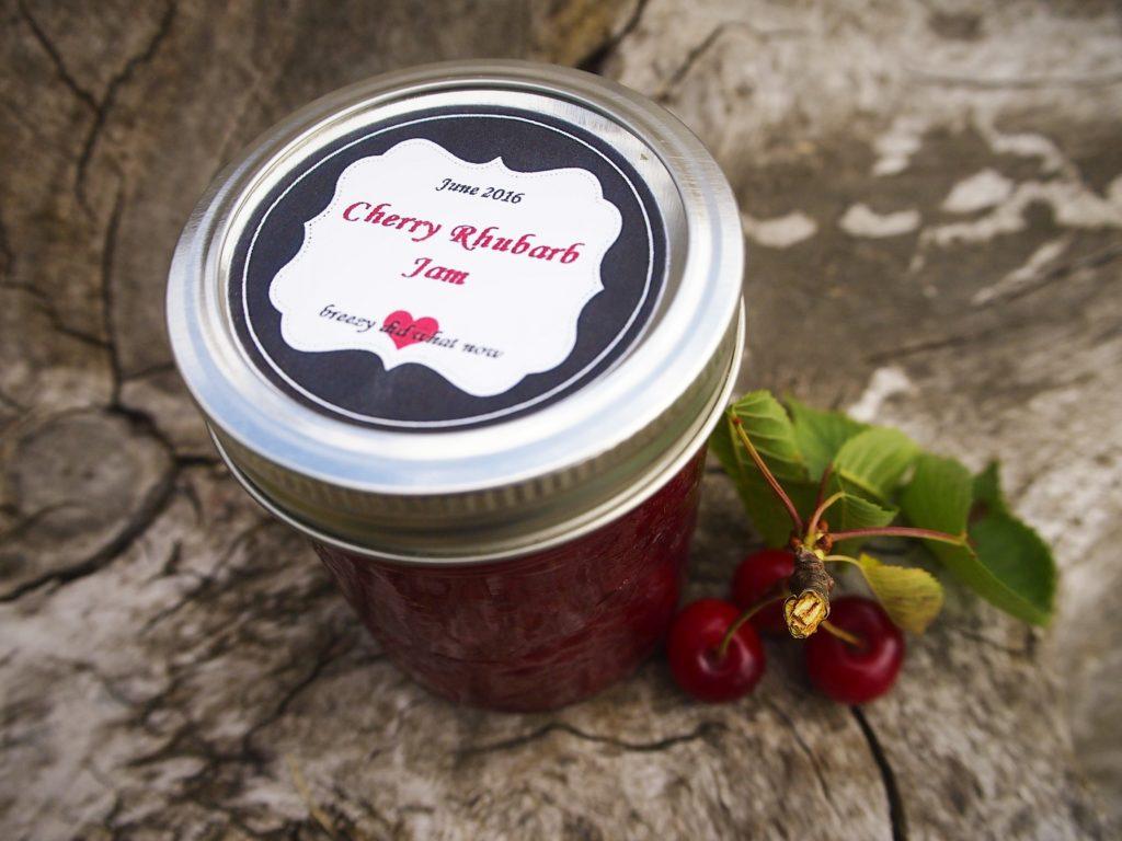 Homemade cherry rhubarb jam