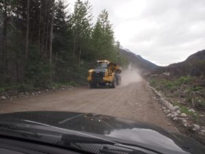 Heavy machinery on the way to Keyhole hot spring