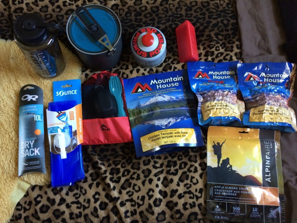 Supplies for overnight hike on the Heather Trail