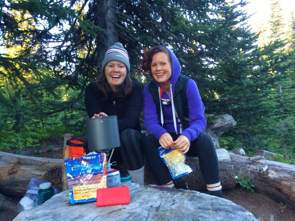 Cooking dinner on our overnight hike on the Heather Trail